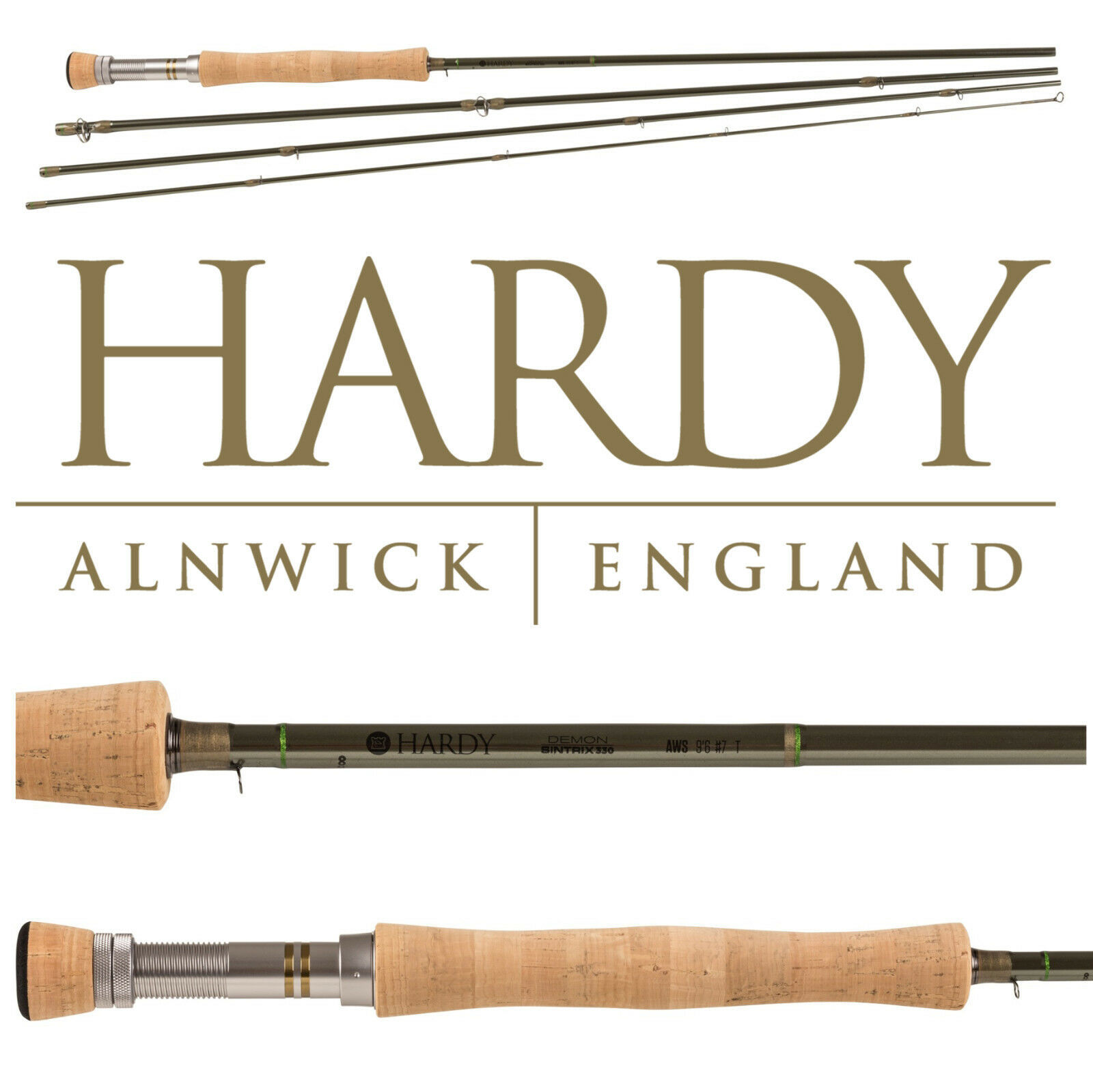 Hardy Demon 4 Piece Sintrix Fly Fishing Rod - Fast Action Various Sizes NEW 2018