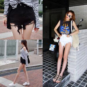 Korean-Women-Denim-Hole-Tassel-Loose-High-Waist-Jeans-Summer-Hot-Pants-Shorts