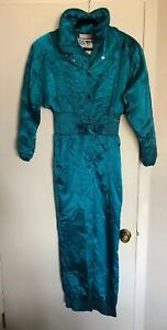 Vintage-NILS-One-Piece-Ski-Snowsuit-Women-s-Size-8-Metallic-Turquoise-Dan-Thomas
