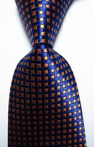 New-Classic-Checks-Orange-Dark-Blue-JACQUARD-WOVEN-100-Silk-Men-039-s-Tie-Necktie