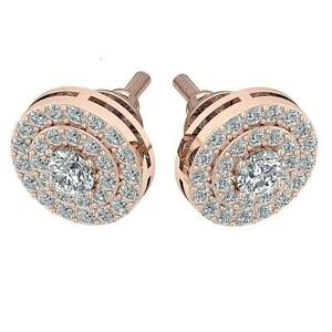 Double-Halo-Solitaire-Cluster-Stud-Earring-SI1-G-Natural-1-0Ct-Diamond-Rose-Gold