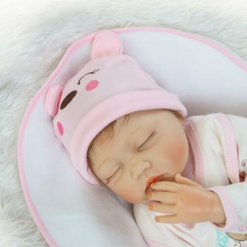 "22/"" Handmade Lifelike Baby  Silicone Vinyl Reborn Toddler Sleeping Dolls"