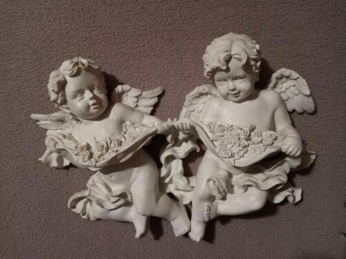 "Vintage Pair Italian Angels Wall Decor Hanging CHERUBS ANGELS Plaster Italy 8"""
