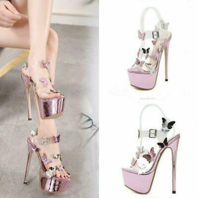 97fe76122e7 Women Pumps Butterfly Stiletto Super High Heel Ankle Clear Strap Platform  Sandal | eBay