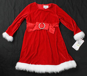 NWT-girls-4T-5T-Lilybird-red-velour-Christmas-holiday-dress-with-faux-fur-trim