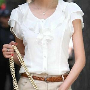 Women-Summer-Chiffon-Office-Ladies-Short-Sleeve-Casual-Shirt-Tops-Blouse-T-Shirt