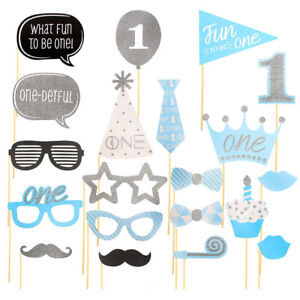 Image Is Loading 20X Boy 1st Birthday Photo Booth Props Blue