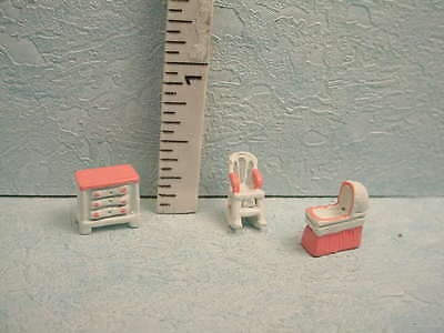 Dollhouse Miniature DH/DH Pink/Wh Nursery -  (3 Piece) #1172  - 144th Scale