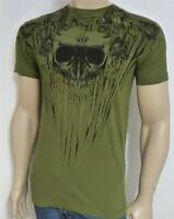 Archaic Double Logo Skull & Roses Graphic Tee Mens Olive Green T-shirt