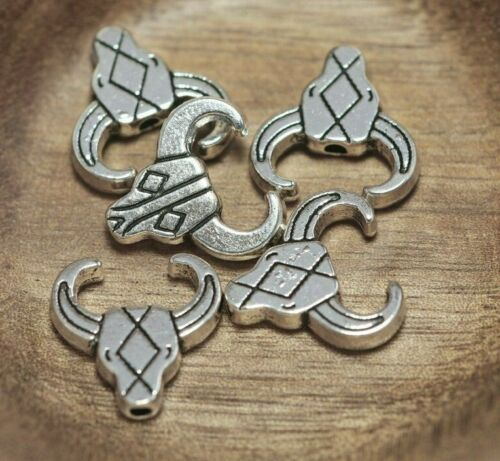 LONGHORN Lot of 5 Pieces Tibetan Silver Tone Cow Skull Alloy Bead 14mm Hole 2mm