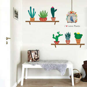 Flower-Pot-Wall-Decal-Cactus-Vinyl-Stickers-Nursery-Bedroom-Home-Decor-PVC-Mural