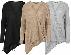 08b31a93ef844 Details about WOMENS LADIES RUCHED GATHERED ASYMMETRIC V-NECK JUMPER  CARDIGAN TOP SWEATSHIRT