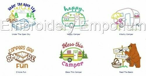 Camping basics collection-Machine Embroidery Designs sur cd ou USB