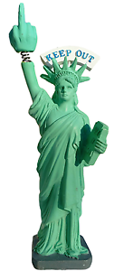 Trump Stocking Stuffer Statue Of Liberty Bobble Finger BobbleHead Keep Out