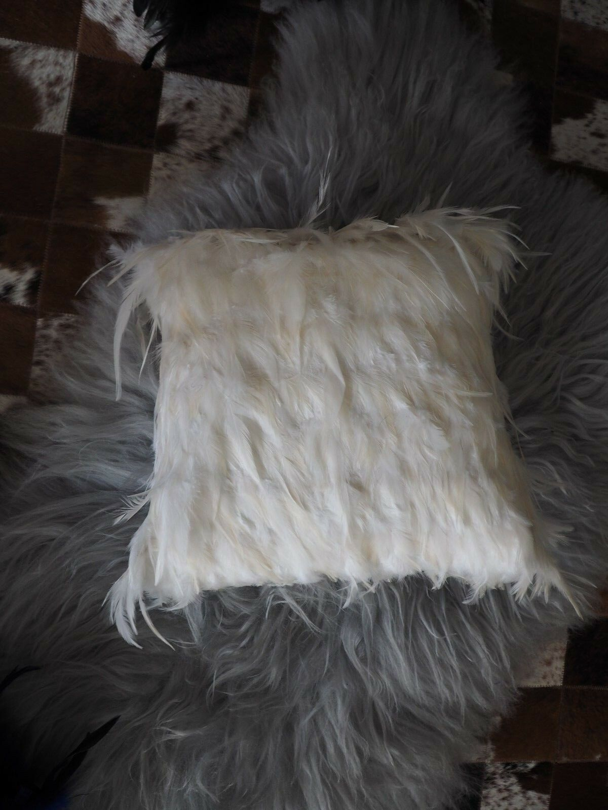 PEARLY Weiß  OSTRICH FEATHER CUSHION COVERS  - 40CM SQ - A BEAUTIFUL ACCESSORY