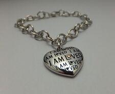 """Sterling Silver 925/14 Karat Pink Gold """"I Am Loved"""" Heart Charm 7.5"""" Bracelet"""