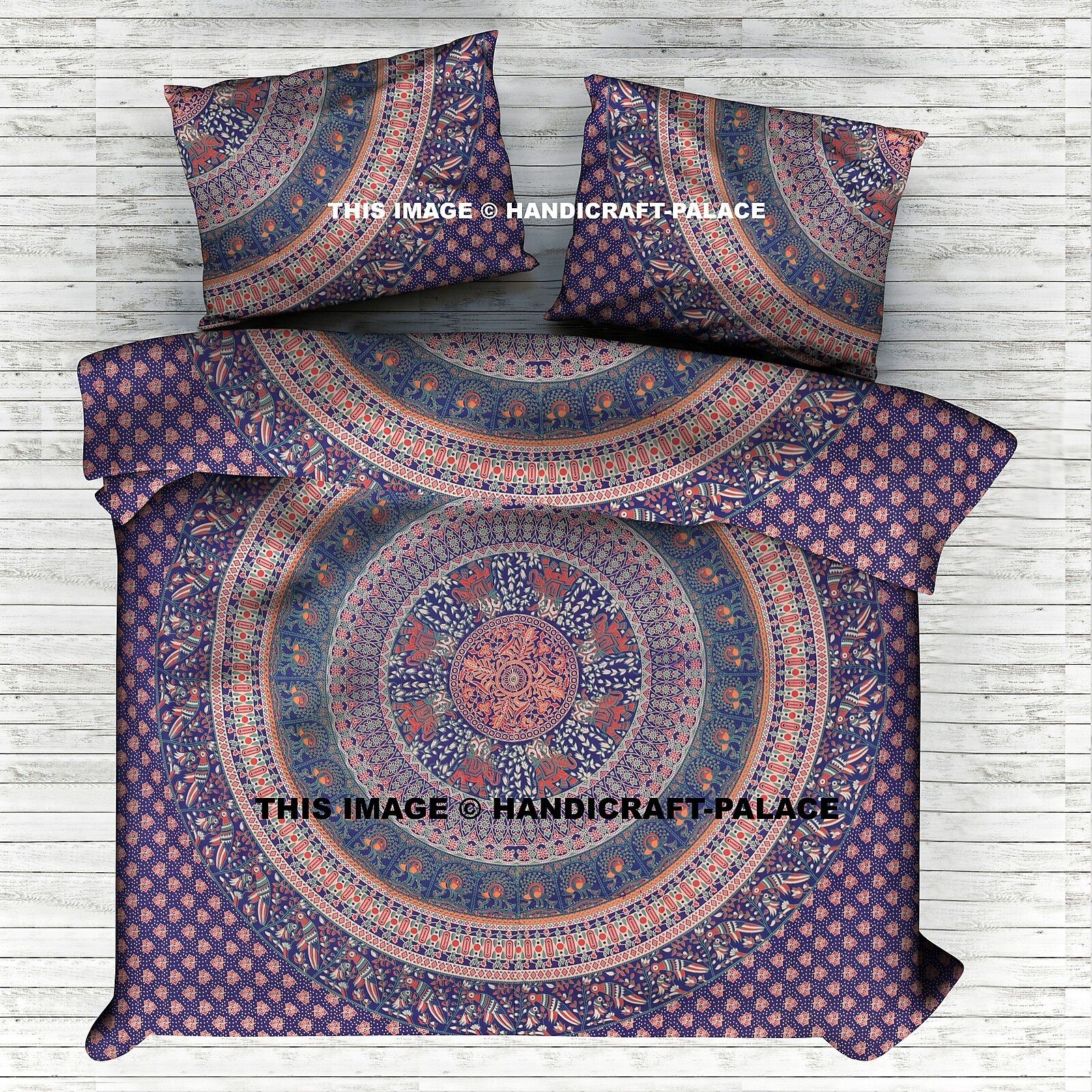 Indian Mandala Duvet Cover Bohemian Queen Bedding Blanket With 2 PC Pillow Cover