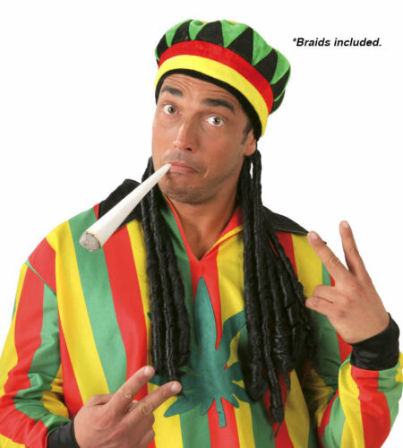 Adult Rasta Jamaican Hat Dread Locks Wig Bob Marley Fancy Dress Cap Carribean