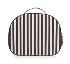 Henri Bendel Brown And White Striped Hatbox Train Case Nwt