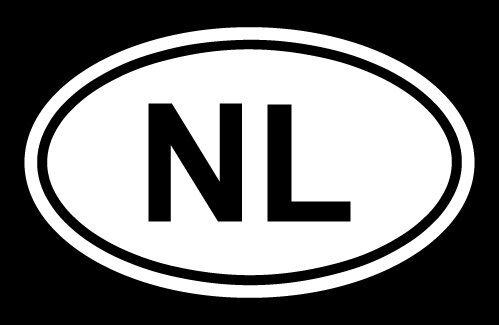 NETHERLANDS COUNTRY CODE OVAL WINDOW//BUMPER STICKER NL