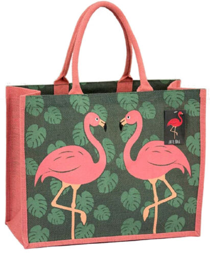 Chiens Boîte en forme de Eco Friendly jute Sac avec gousset ~ Shopping Sac De Chats Flamingo