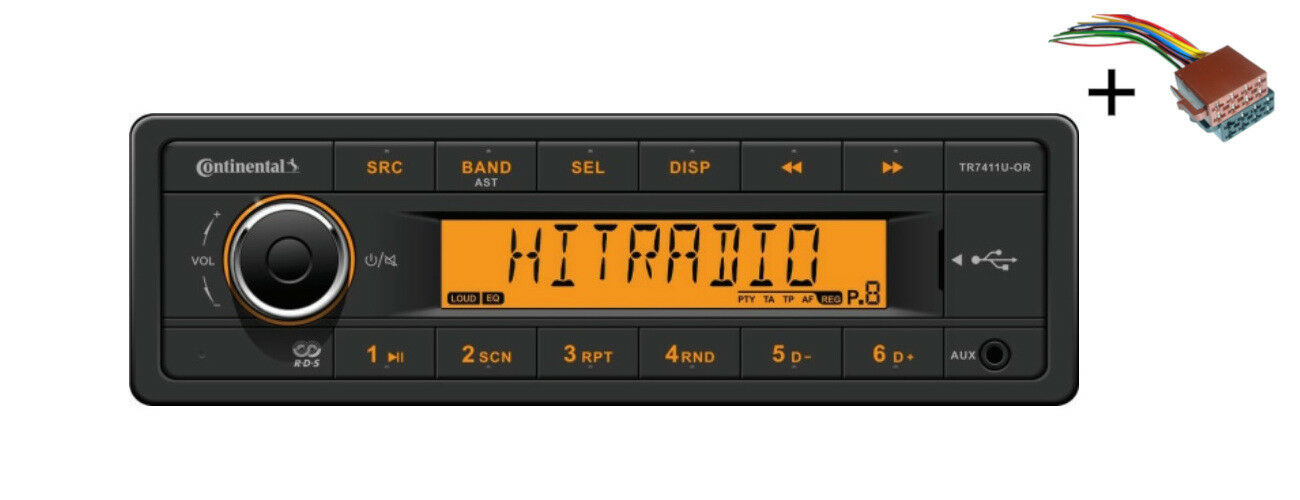 VDO Radio USB MP3 WMA 12V + Cable barco Marina TR7411U-OR