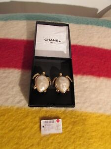 Image Is Loading Vintage Authentic Chanel Earrings Gold Plated Sea Turtles