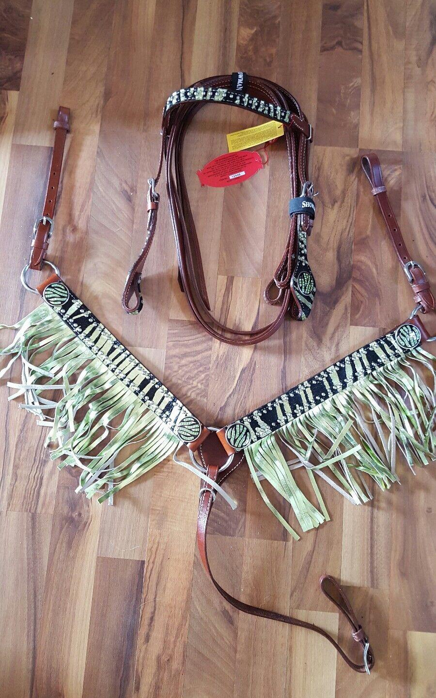 Showman PONY Metallic LIME ZEBRA Browband Bridle & Lime FRINGE Breast Collar SET