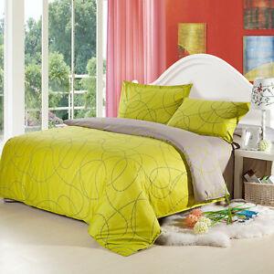 100 Cotton Duvet Cover Pillow Cases 4pcs Reversible Lime Grey