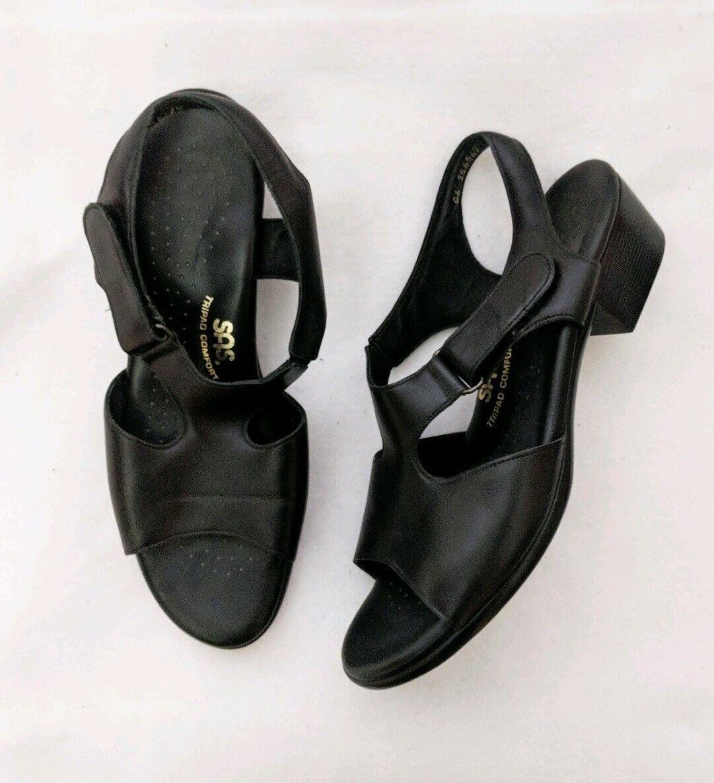 SAS Black Suntimer Tripad Comfort Leather Strappy Sandals Womens Size 9.5 S Slim