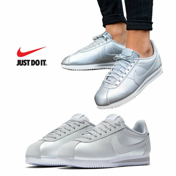 Womens Nike Classic Cortez Leather Silver Trainers 807471 015
