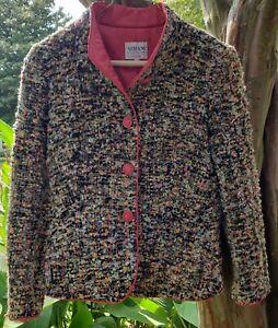 Armani-Collezioni-Boucle-Mandarin-Collar-Blazer-Jacket-Size-6