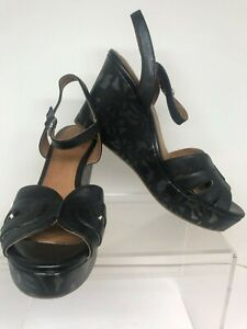 a20d9a30df55 Image is loading Clarks-Womens-Amelia-Page-Black-Leather-Floral-Wedge-