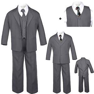 Baby Toddler Boy Dark Gray Wedding Formal Party Tuxedo Suits Artsy Necktie S-20