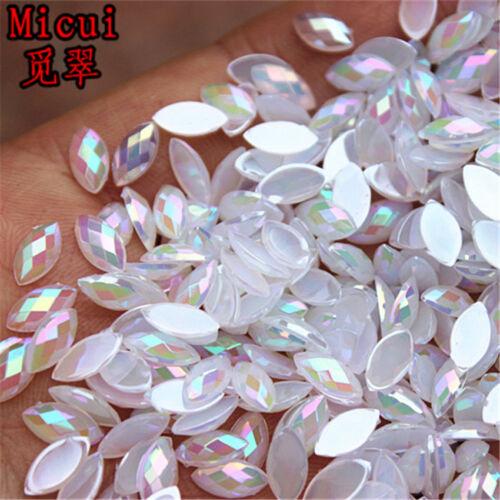 200PCS 4*8mm Acrylic Rhinestones crystal horse eyes shape flat back Beads ZZ730