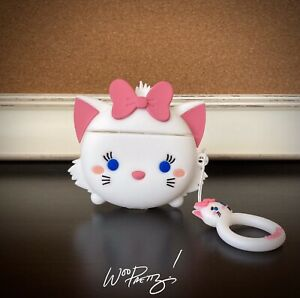 Cute MARIE Disney Aristocats Apple Airpod 1 & 2 Silicone Kitten Cat Case