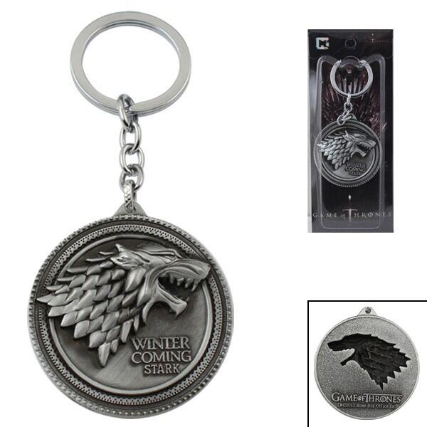 Game of Thrones House Stark of Winterfell Sigil LOGO Key Ring Chain NIB #02