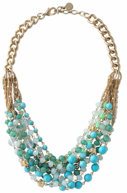 Maldives Stone Multiple Layers Blue Green Beaded Statement Dot Necklace