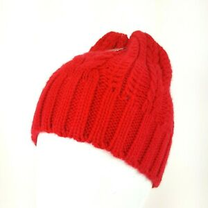 bc86e298a3b Merona Bright Red Thick Cable Knit Stocking Cap Beanie Winter Hat ...