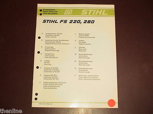 STIHL String Trimmer Brushcutter Spare Parts List Manual FS220 FS280 FS 220 280