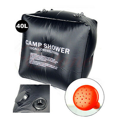 Outdoor Hiking Folding Solar Camp Shower Water Bathing Bag 40L 10 Gallons Black