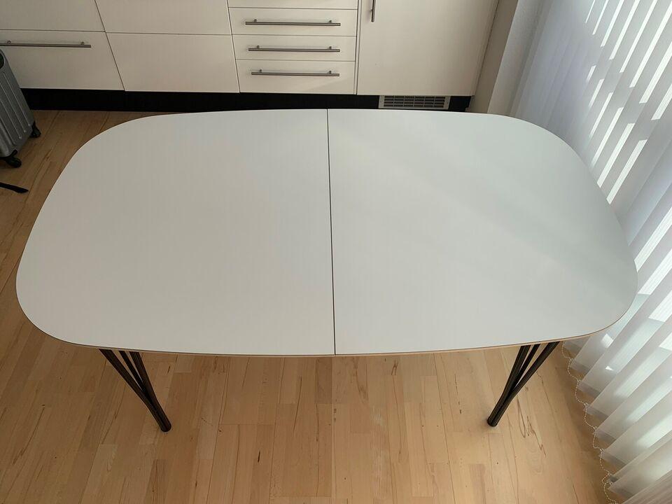 Spisebord, Hvid laminat, Haslev
