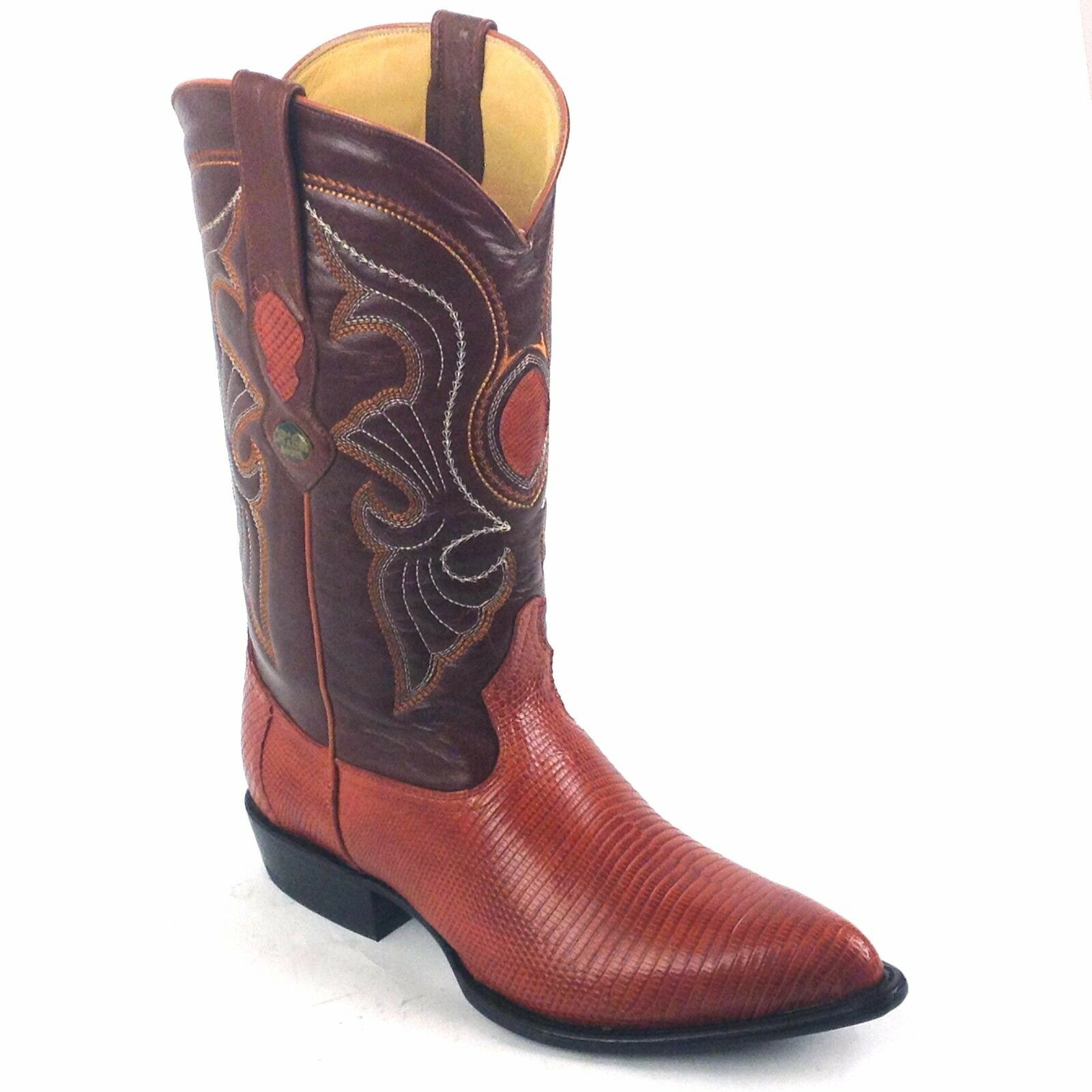 LOS ALTOS COGNAC LEATHER RING LIZARD J-TOE BOOT STYLE