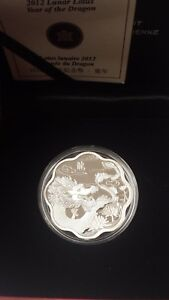 Canada-2012-15-Lunar-Lotus-Year-of-Dragon-Proof-SILVER-COIN-With-COA-Box-Sleeve