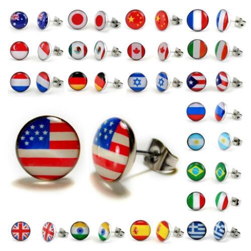 WORLD FLAG STAINLESS STEEL EARRINGS 10mm Post Stud Pair Jewelry Country Pride