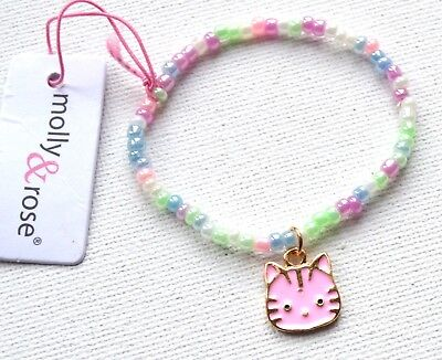 Bello Nuovo Bambini Gatto Rosa Pastello Perline Bracciale Con Charm Fashion Jewellery-mostra Il Titolo Originale