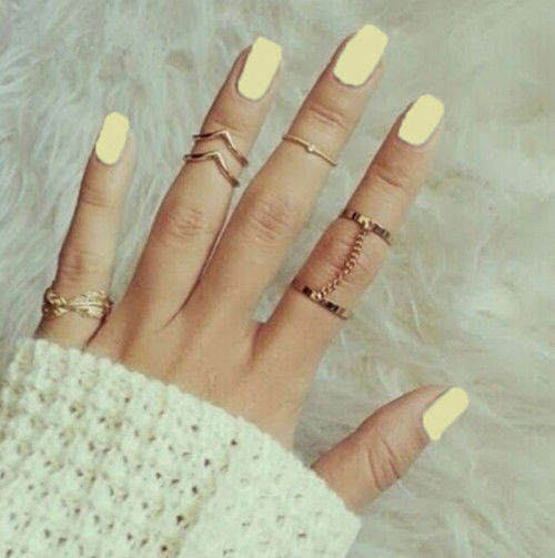 6Pc Fashion Personality Leaf Knuckle Midi Mid Finger Tip Stacking Chain Ring ZOC