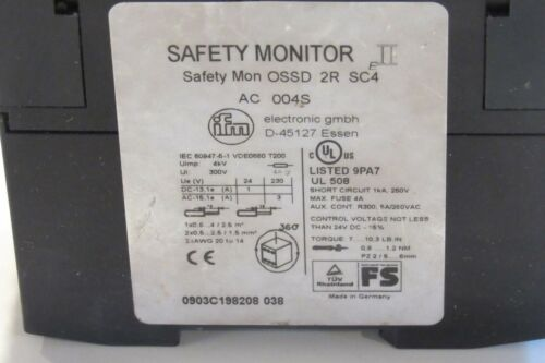 IFM Safety Monitor EII OSSD 2R SC4 AC004S AS-BUS INTERFACE FREE SHIPPING!