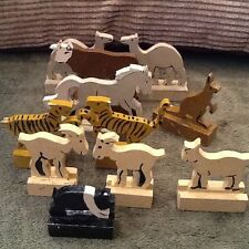 Wooden Animals 11 Toy Hand painted Animals Horse Pig Goat Cow Etc Vintage