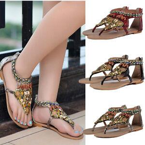 Women-Summer-New-Bohemia-Beads-Flip-Flops-Flat-Sandals-Beach-Thong-Shoes-3-Color